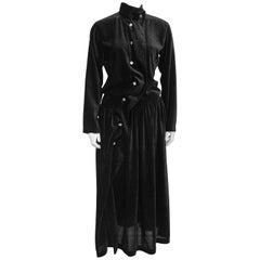 Late 1980s Rei Kawakubo Black Velvet Asymmetrical Dress