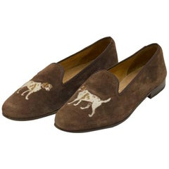 1970s Stubbs and Wooten Brown suede Slippers with Dog Motif