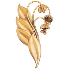 1940 Joseff Of Hollywood Lily of the valley oversized brass brooch pin