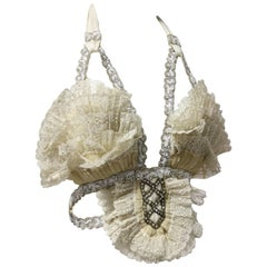 Abbreviated Victorian Cream Pleated Lace Bustier with Silk Ties at Back
