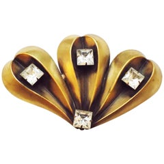 Joseff of Hollywood  massive fan brooch pin with crystal, 1940