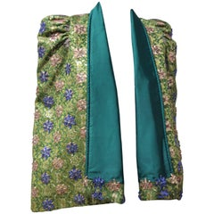 1950s Couture Emerald Silk Brocade Evening Cape with Jeweled Flowers