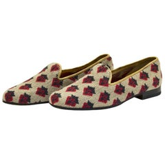 1970s Stubbs and Wootton Strawberry Pattern Needlepoint Slippers