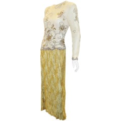 Mary McFadden Couture Gold beaded Bodice with Gold pleated Skirt Gown