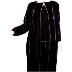 Burgundy Zoran silky velvet 3 pc  jacket duster, blouse/top  and pant set
