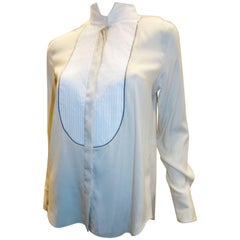 Brunello Cucinelli two tone Beaded pleated canvas-paneled silk tuxedo blouse