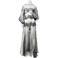 Black Net and Lace Peignoir with Balloon Sleeves and Deep-Cut Back Closure