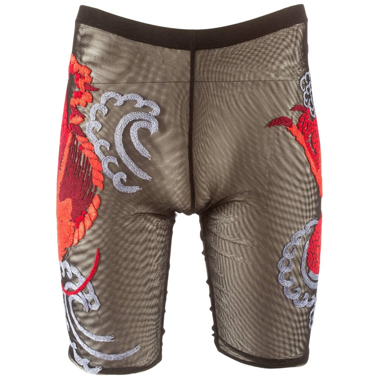 Tom Ford for Gucci unisex sheer embroidered cycling shorts, Spring-Summer 2001