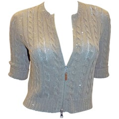Brunello Cucinelli cable Knit Sequined Sweater cardigan crop top w zipper front