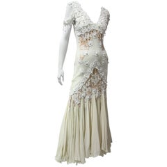Antique White / Nude Lace Slip Dress with Pearls and Chiffon Mermaid Hem