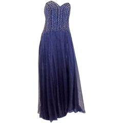 David Meister New w Tags Navy blue beaded chiffon corset evening dress gown