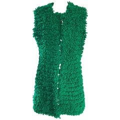 1960s Di Costa Kelly Emerald Green Shag Carpet Sleeveless Vintage Wool Vest