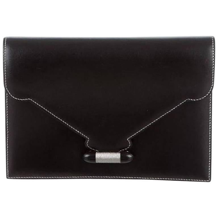 Hermes Leather Silver Toggle Envelope Evening Flap Clutch Bag