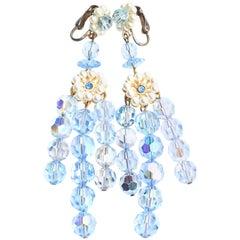 60s Aurora Borealis Earrings in Baby Blue