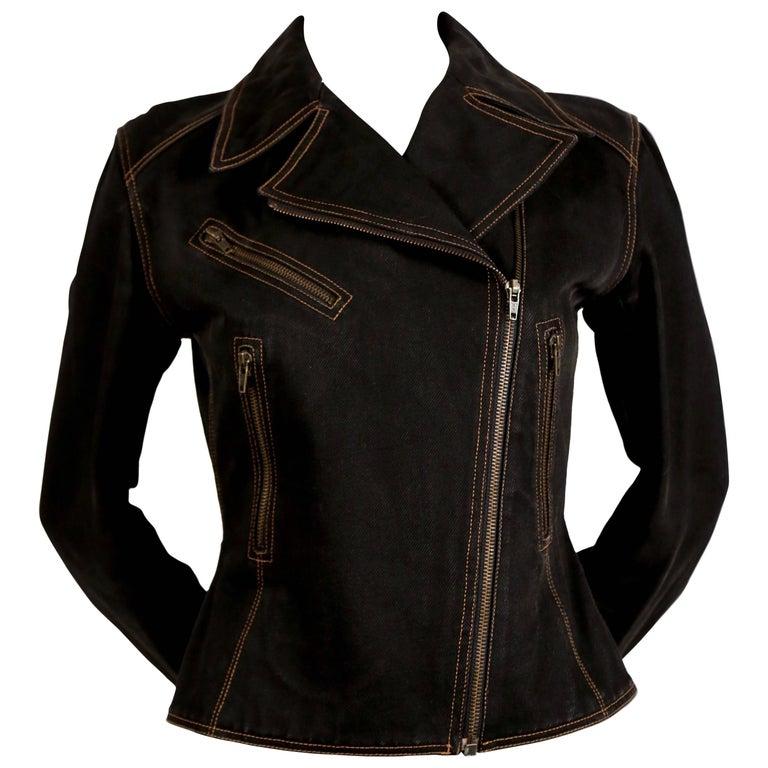 1980's AZZEDINE ALAIA black denim motorcycle jacket with corset back