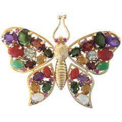 Large 1960's Gem Encrusted Butterfly Brooch. 14k Yellow Gold. High Impact.