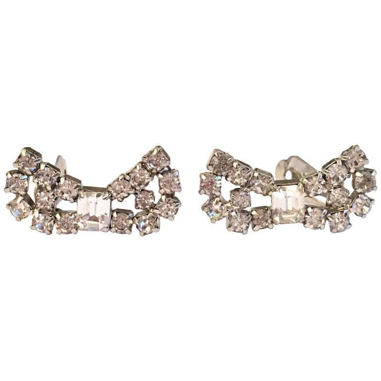 1950 S Silver Swarovski Crystal Clear Rhinestone Bow Earrings