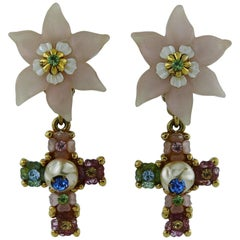 Christian Lacroix Vintage Jewelled Flower Cross Dangling Earrings