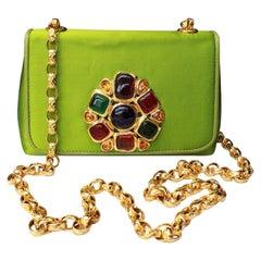 Chanel green satin jewel evening bag