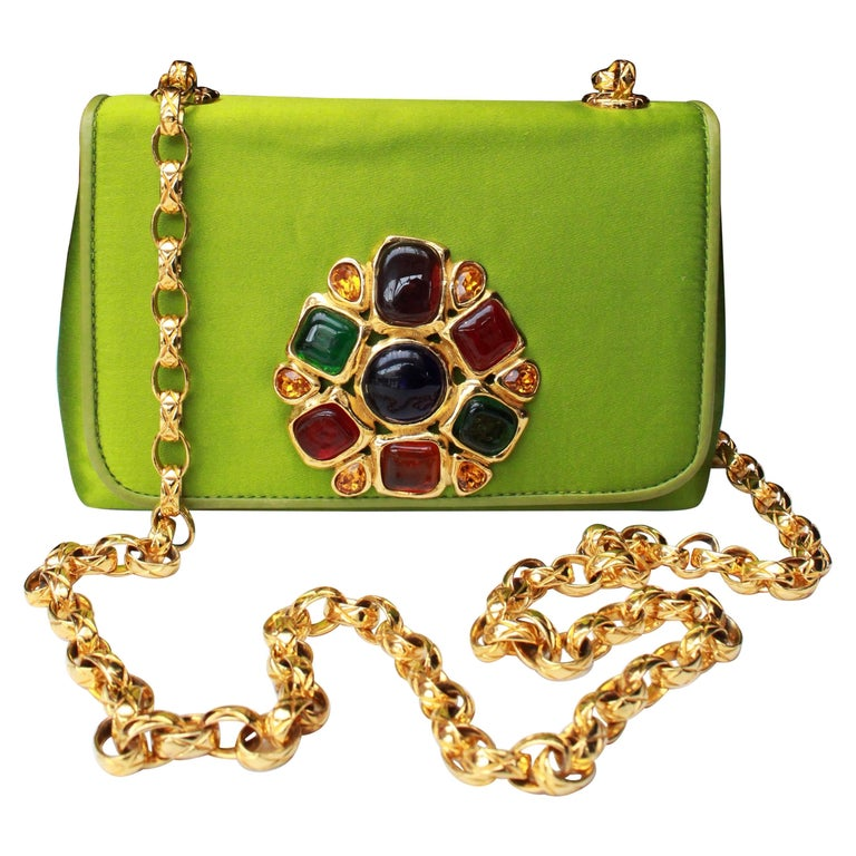 Chanel green satin jewel evening bag