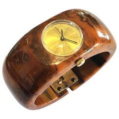 Art Deco Bakelite Watch by Endura in Mississippi Mud hinged clamper