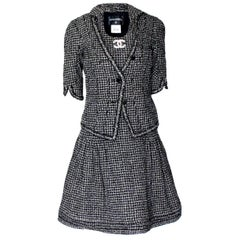 Chanel Gorgeous Black and White Lesage Braided Tweed Dress Jacket Suit