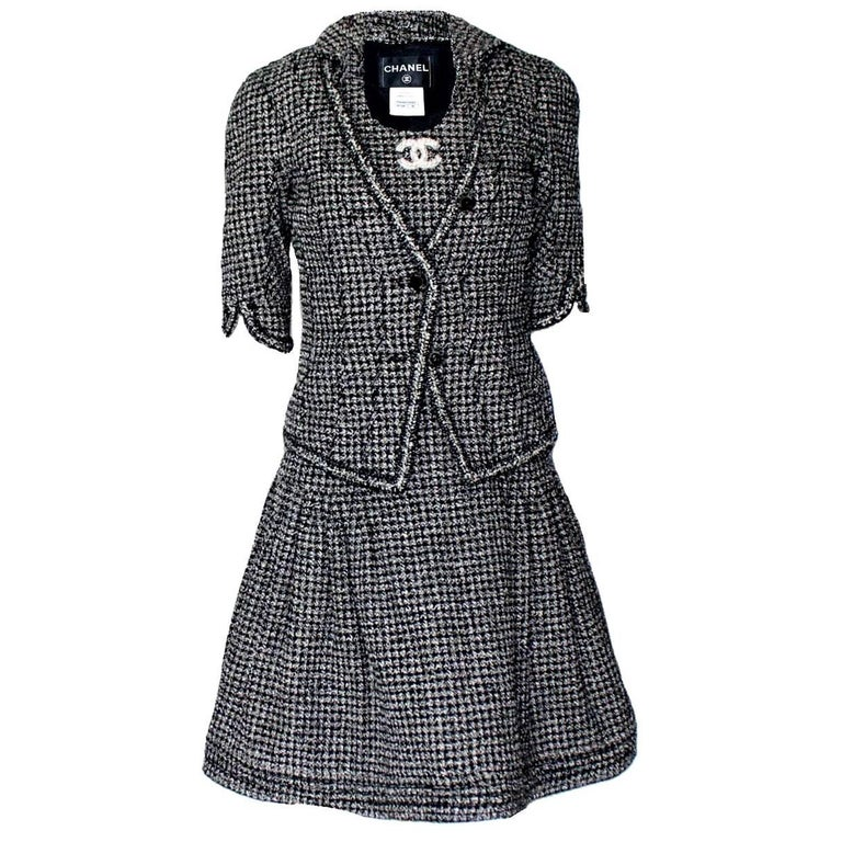 d330799008d Chanel Gorgeous Black and White Lesage Braided Tweed Dress Jacket Suit For  Sale