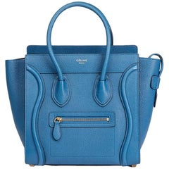 2015 Celine Sea Blue Chevre Goatskin Leather Micro Luggage Tote