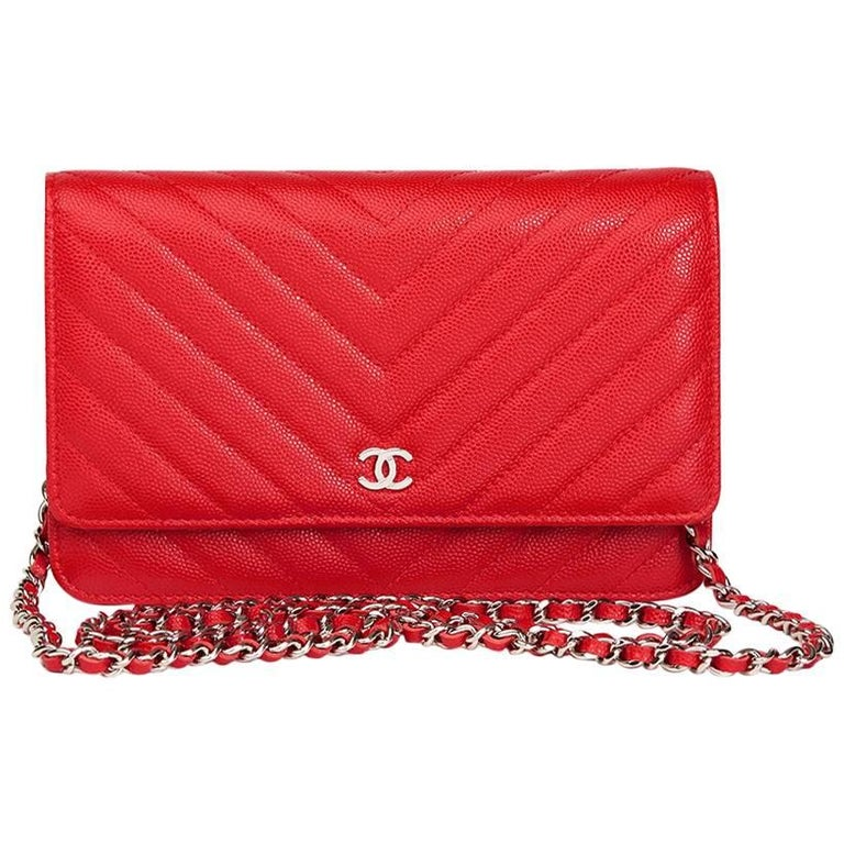 2017 chanel red chevron quilted caviar leather walleton