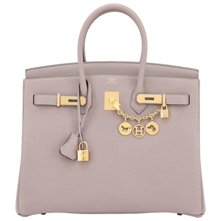 Hermes 35 Gris Asphalte Dove Grey Togo Gold Hardware C Stamp Birkin Bag 1
