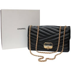 Chanel quilted black leather bag