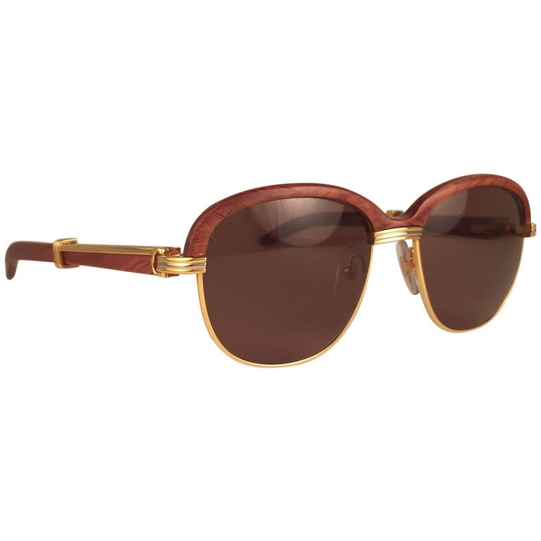 New Cartier Wood Malmaison Precious Wood Palisander and Gold 56mm Sunglasses  For Sale