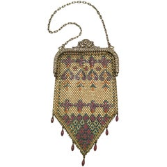Mandalian Art Deco Chainmail Metal Bag with Enamel Bead Fringe, 1920s