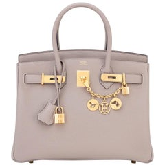 Hermes 30 Gris Asphalte Dove Grey Togo Gold Hardware A Stamp Birkin Bag