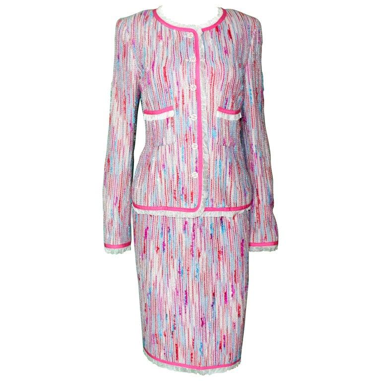 Chanel 3 Piece Lesage Tweed Multicolor Top Skirt Jacket Suit Ensemble For Sale