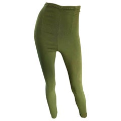 1990s Ghost of London Olive Green Ultra High Waisted Vintage Leggings Pants