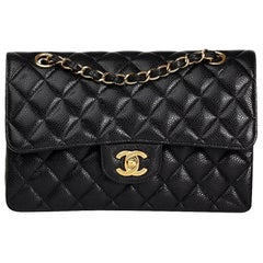 2009 Chanel Black Quilted Caviar Leather Small Classic Double Flap