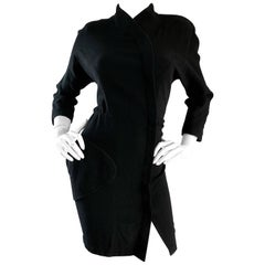 Thierry Mugler 1990s Black Wool Asian Kimono Inspired Vintage Mini Dress