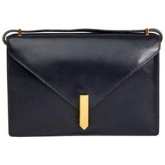 1968 Hermes Navy Box Calf Leather Vintage Jimmy