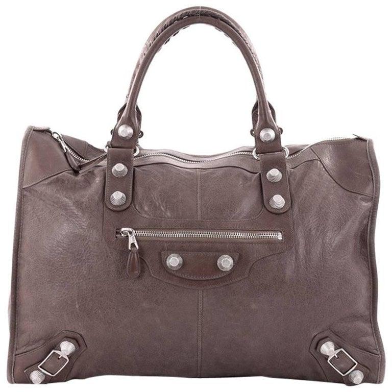 Balenciaga Weekender Giant Studs Handbag Leather