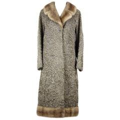 1960s Taupe Persian Lamb Astrakhan Fur Coat With Brown Mink Fur Collar And Hem