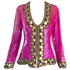 1990s Liza Carr for Lillie Rubin Hot Pink and Gold Sequin Beaded Silk Jacket
