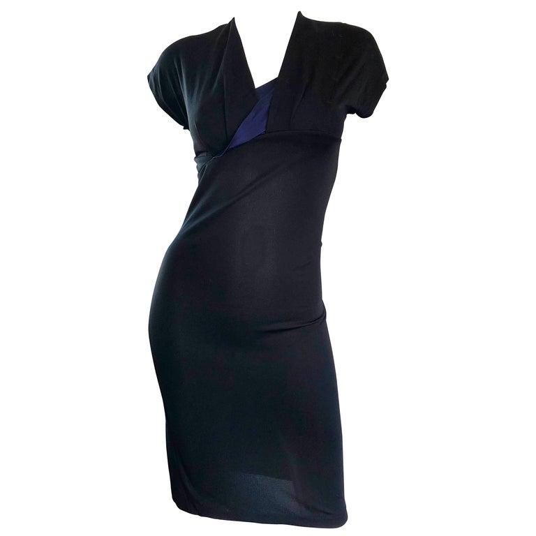 Salvatore Ferragamo Vintage 1990s Black and Navy Blue Jersey Dress