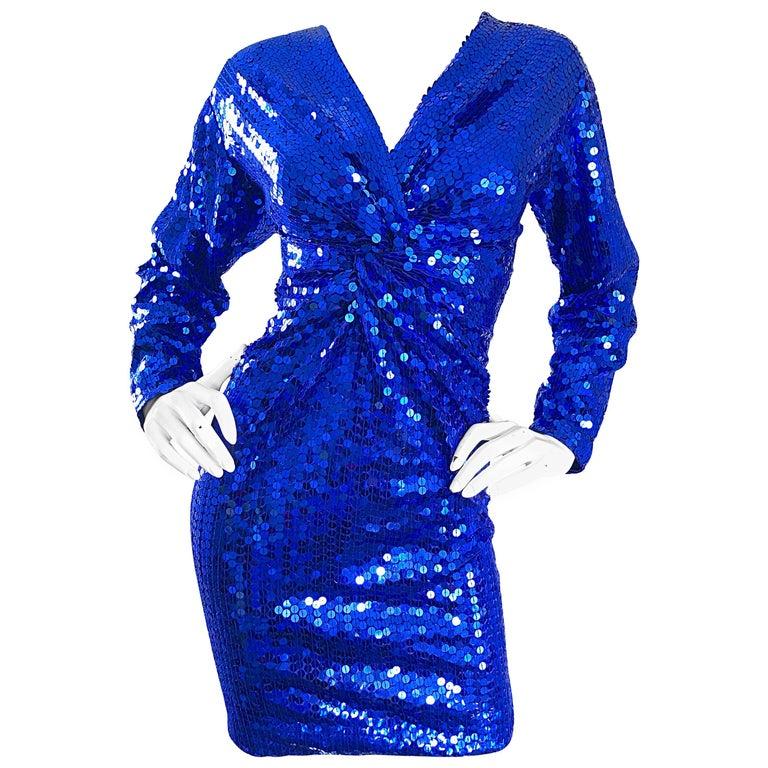 Oleg Cassini Vintage Royal Blue 1990s Fully Sequined Long Sleeved 90s Mini Dress