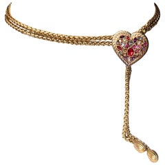 1990s Yves Saint Laurent jewel belt with heart