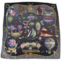 """Hermes Vintage Silk Carre Scarf """"Les Folies du Ciel"""" by Loic Dubigeon"""