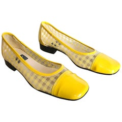 Size 8 Andre Assous 1960s Vintage Style Yellow and Clear Mod Flat  Shoes