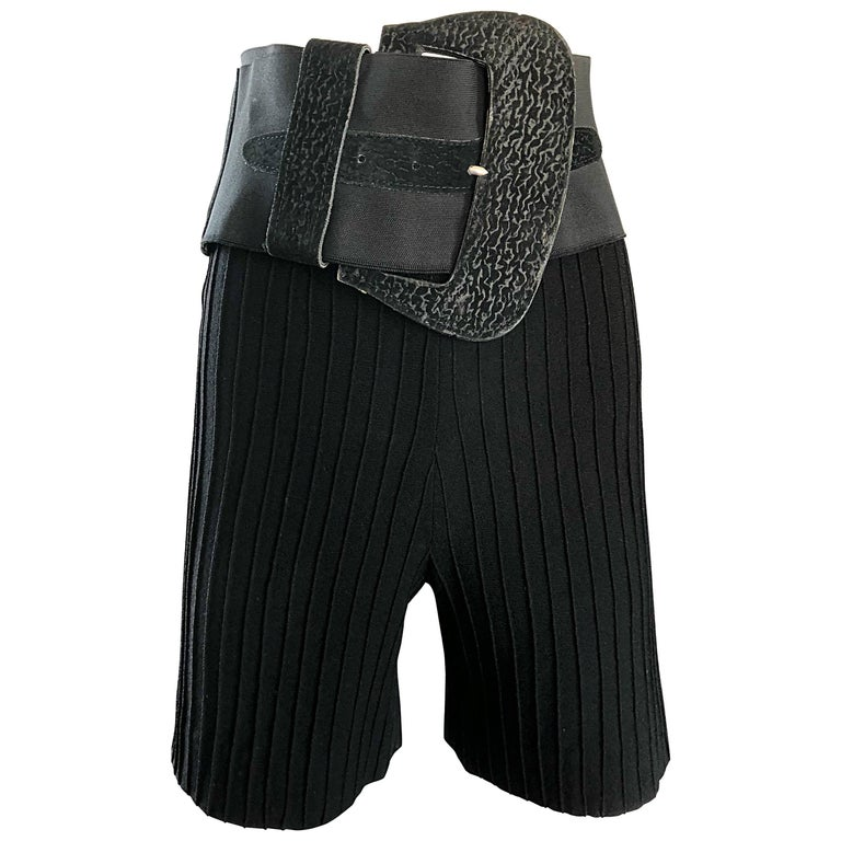 Cardinali Original Sample Black Wool High Waisted 1960s Shorts and Belt Set