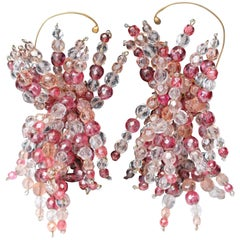 "1960s Coppola e Toppo spectacular pink ""fireworks"" earrings"