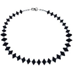 Black Onyx and Silver Crystal Necklace